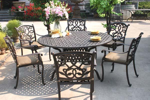 """Patio Furniture Dining Set Cast Aluminum 60"""" Table 7pc"""