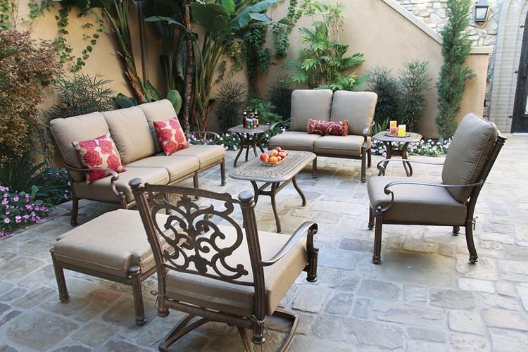 Patio Furniture Cast Aluminum Deep Seating 8pc Santa Barbara