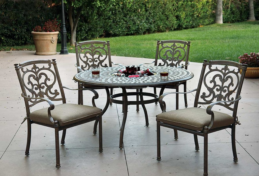 Outdoor Dining Set Round Table.Patio Furniture Dining Set Cast Aluminum 52 Round Table W Ice Bucket 5pc Santa Barbara