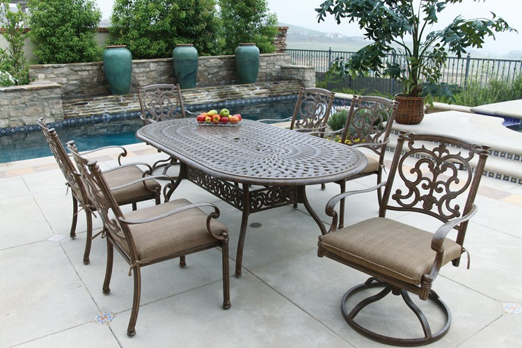 Awe Inspiring Patio Furniture Dining Set Cast Aluminum 84 Home Interior And Landscaping Eliaenasavecom