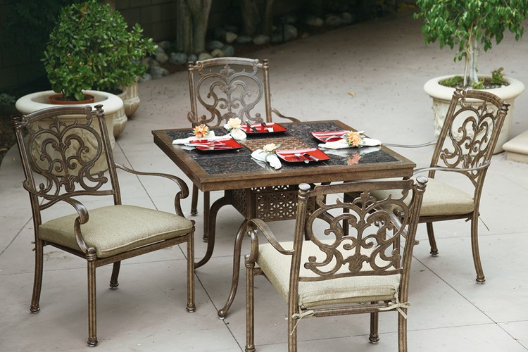 Astonishing Patio Furniture Dining Set Cast Aluminum 41 Granite Top Square Table 5Pc Santa Barbara Home Interior And Landscaping Eliaenasavecom