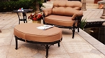 Patio Furniture Cast Aluminum Deep Seating  Club Chair Cuddle Ottoman Lisse
