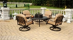 Patio Furniture Cast Aluminum Club Chairs Set Swivel Chat Table 3pc Lisse