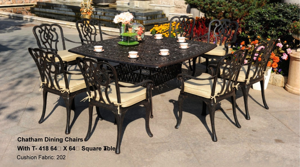 Patio Furniture Dining Set Cast Aluminum 9pc Chatham