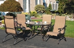 Patio Furniture Dining Set Cast Aluminum Sling Chairs 5pc Summer Point