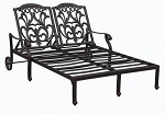 Patio Furniture Cast Aluminum Double Chaise Lounge Valencia