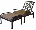 Patio Furniture Cast Aluminum Club Chair Adjustable Ottoman Set 2pc Valencia