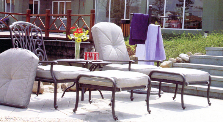 Patio Furniture Deep Seating Club Chair Cast Aluminum Double Adjustable w/Ottos Lisse