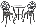 Patio Furniture Bistro Set Cast Aluminum/Iron Tulip