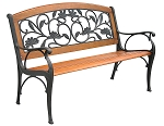 Patio Furniture Bench Traditional Cast Iron  Leaves