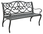 Patio Furniture Bench Traditional Cast Aluminum 4-ft Scroll