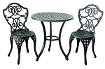 Patio Furniture Bistro Set Cast Aluminum & Iron Scroll