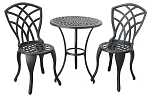 Patio Furniture Bistro Set Cast Aluminum & Iron Concord