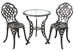 Patio Furniture Bistro Set Cast Aluminum & Iron Regis