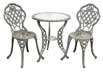 Patio Furniture Bistro Set Cast Aluminum/Iron Regis