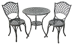 Patio Furniture Bistro Set Cast Aluminum/Iron Black Bamboo