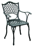 Patio Furniture Chairs Cast Aluminum/Iron Arm (Set/2) Black Bamboo