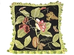 Needlepoint Pillow - Floral/Black (22
