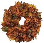 Wreath Dried Magnolia Copperbacked Pinecones