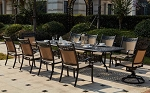 "Patio Furniture Dining Set Cast Aluminum/Sling Chairs 92""-120"" Extension Table 11pc Mountain View"