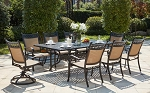 Patio Furniture Dining Set Cast Aluminum/Sling Chairs 92