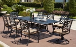 "Patio Furniture Dining Set Cast Aluminum 92"" Rectangular Table 9pc Madsion"