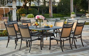 Patio Furniture Dining Set Cast Aluminum Sling 60 Square Table 9pc Mountain View