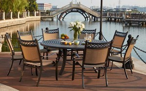 "Patio Furniture Dining Set Cast Aluminum/Sling Chairs 71"" Round Table 9pc Mountain View"