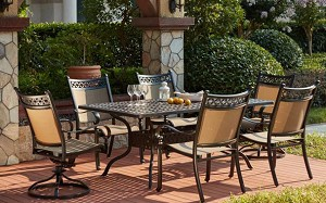 "Patio Furniture Cast Aluminum/Sling Dining Set 72"" Rectangular Table 7pc Mountain View"