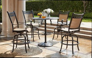 "Patio Furniture Bar Set Cast Aluminum/Sling Bar Stools 42"" Round Pedestal Bar Table 5pc Mountain View"
