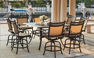Patio Furniture Cast Aluminum Sling Counter Height Bar Dining Set 9pc Mountain View