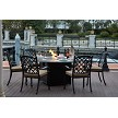 Madsion Cast Aluminum 7-Pc Fire Pit Table Dining Set