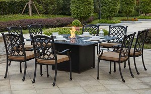 "Patio Furniture Dining Set Cast Aluminum 64"" Square Propane Fire Pit Table 9pc Madsion"