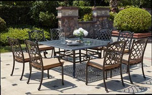 "Patio Furniture Dining Set Cast Aluminum 60"" Square Table 9pc Madsion"