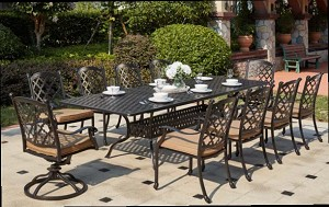 "Patio Furniture Dining Set Cast Aluminum 92""-120"" Extension Table 11pc Madsion"