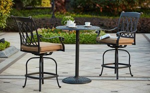 "Patio Furniture Dining Set Cast Aluminum 30"" Round Pedestal Table 3pc Pub Capri"