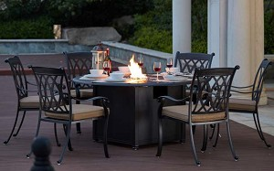 "Patio Furniture Dining Set Cast Aluminum 60"" Round Propane Fire Pit Table 7pc Capri"