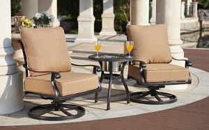 Patio Furniture Cast Aluminum Deep Seating Swivel Rocker 3Pc Set Capri