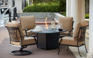 Patio Furniture Cast Aluminum Deep Seating 5-Pc Fire Pit Table Chat Group Capri