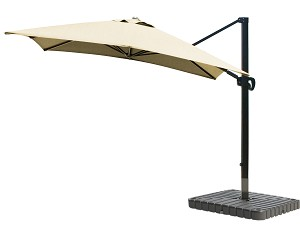 Cantilever Umbrella Aluminum 10-Foot Square Sunbrella Canvas Wheat 5414