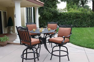 "Patio Furniture Dining Set Cast Aluminum 42"" Pub Table 5pc Charleston"