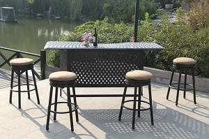 Patio Furniture Party Bar Set Cast Aluminum Backless Swivel Barstools 5pc