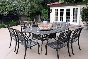 "Patio Furniture Dining Set Cast Aluminum 64"" Square Table 9pc Nassau"