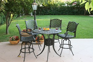 "Patio Furniture Bar Set Cast Aluminum 42"" Table 5pc Nassau"