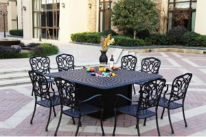 "Patio Furniture Dining Set Cast Aluminum 64"" Square Propane Fire Pit Table 9pc Florence"