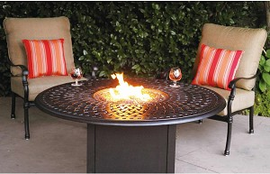 "Patio Furniture Deep Seating Set Cast Aluminum 52"" Propane Fire Pit Chat Table 3pc Florence"