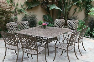 "Patio Furniture Dining Set Cast Aluminum 60"" Square Table 9pc Sedona"
