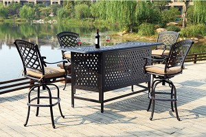 "Patio Furniture Party Bar Set Cast Aluminum 82"" 5pc Pub Sedona"