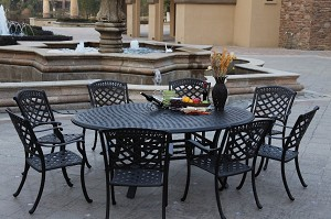 "Patio Furniture Dining Set Cast Aluminum 78"" Egg Shape Table 9pc Sedona"