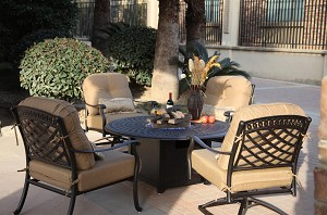"Patio Furniture Chat Group Cast Aluminum 52"" Round Propane Fire Pit Table 5pc Sedona"